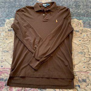 Ralph Lauren brown knit long sleeve polo Small